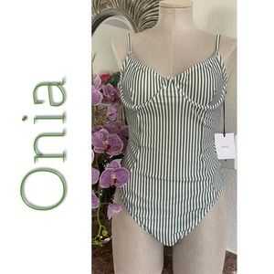 Onia Isabella Green Striped Large NWT